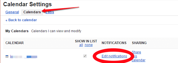 Accept calendar invites to alternate gmail address find your primary calendar in the list and then look to the right to fin the edit notifications link in the notifications column click it stopboris Choice Image